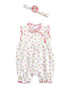 Red Berry Bubble Playsuit & Headband, White/Red