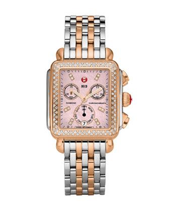 Deco Diamond Two-Tone Watch Head & 18mm Bracelet Strap