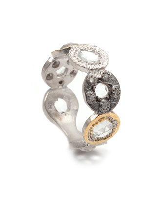 Opera Tricolor Crystal & Diamond Circle Ring