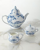 Country Estate Delft Blue Teapot, Sugar Bowl, & Creamer
