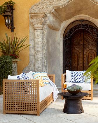 Moroccan Teak Outdoor Chair Frame, Ottoman Frame, & Cushions