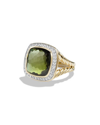 Albion Ring with Green Orchid and Diamonds in Gold