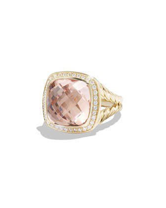 Albion Ring with Morganite and Diamonds in Gold
