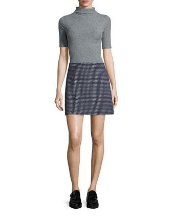 Cruzio Knit Short-Sleeve Turtleneck & Kerash Textured Knit Skirt