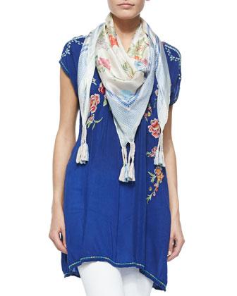 Carmen Floral-Embroidered Tunic & Garden-Print Silk Scarf, Women's