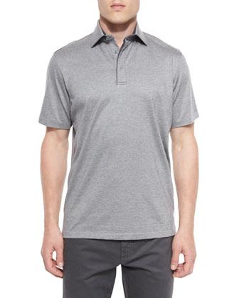 1x1 Knit Polo Shirt, Gray