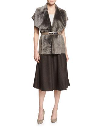 Short-Sleeve Vest W/ Shearling Fur Collar, Charmeuse Silk Bias Tank, Skinny ...