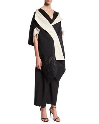 Lotus Leaf Bicolor Jacquard Kimono Wrap, Sleeveless V-Neck Peplum Top & ...