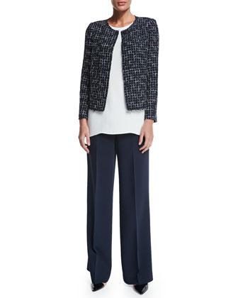 Dani Tweed Snap-Front Jacket, Sasha Sleeveless Blouse & Kenmare Flare-Leg ...