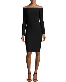 Herve Leger Tiered Off-the-Shoulder Dress