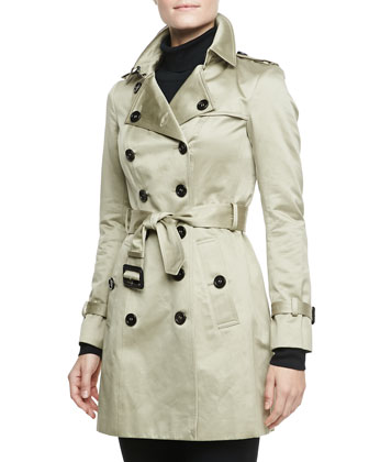 Sateen Trench Coat, Trench