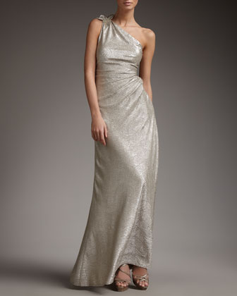 One-Shoulder Metallic-Print Gown