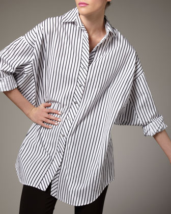 Striped Big Shirt, Petite
