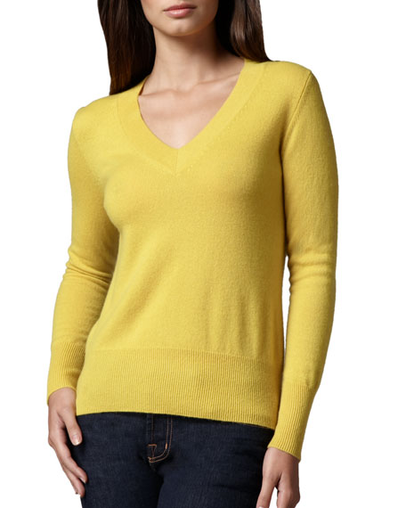 Neiman Marcus V-Neck Cashmere Sweater