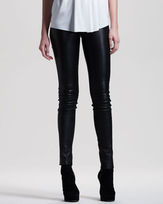 Opacity Shimmery Knit Oversize Sweater & Stretch-Leather Skinny Pants