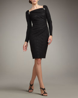 David Meister Long-Sleeve Matelasse Dress