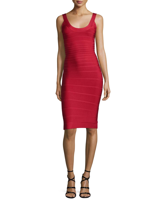 Womens Scoop Neck Bandage Dress, Lipstick   Herve Leger