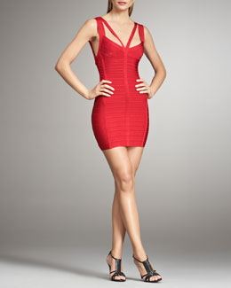 Herve Leger Double-Strap Bandage Dress