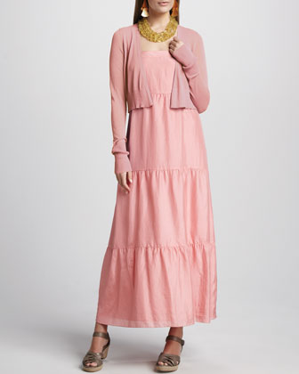 Cropped Cardigan & Silk Tiered Maxi Sundress, Women's