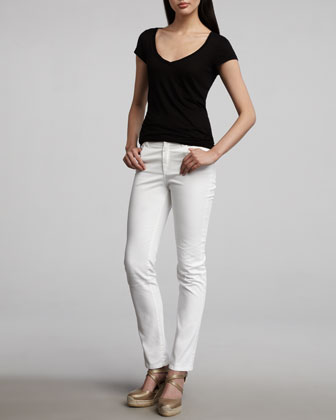 Elbow Sleeve Horizontal Striped Top & Curvy Slim Jeans