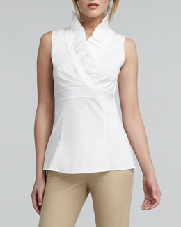 Lafayette 148 New York Lorelai Ruffled Sleeveless Blouse