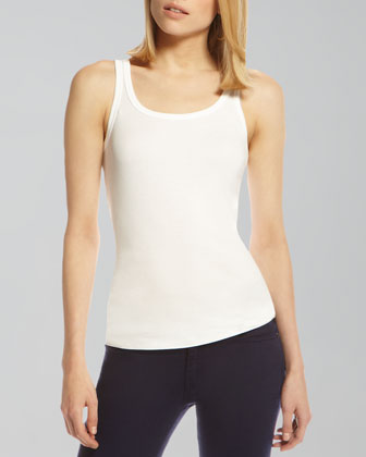Fitted Knit Tank, White