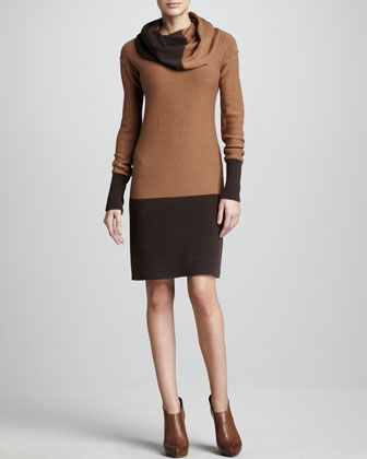 Cowl-Neck Two-Tone Dress