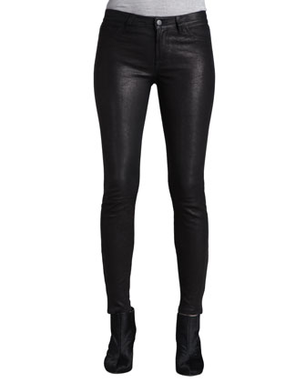 Dauphine Arch-Hem Knit Sweater & L8001 Noir Leather Super Skinny Pants