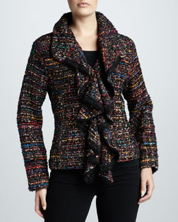 Berek Ruffled Tweed Jacket, Petite
