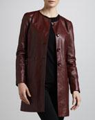 Basic Long Leather Jacket
