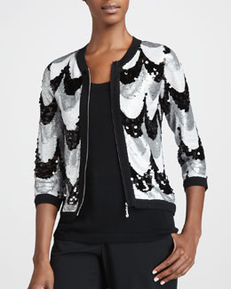 Michael Simon Sequined Scallop Jacket, Women's