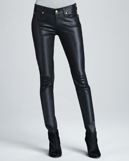 7 For All Mankind Skinny Black High Shine Gummy Jeans