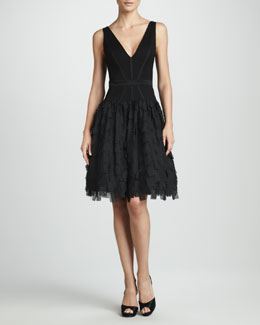 Aidan Mattox Tiered V-Neck Dress