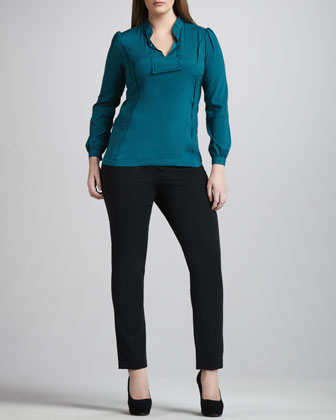 Reema Stretch-Silk Blouse & Twiggy Slim Pants, Women's