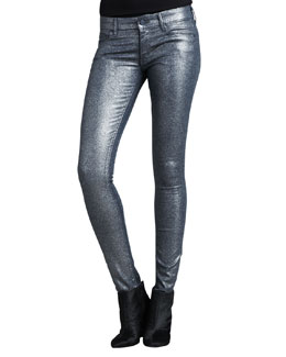 Mother Denim The Looker Stone Blue Glimmer Skinny Jeans