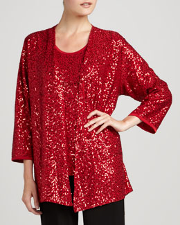 Caroline Rose Classic Sequin Stretch Jacket