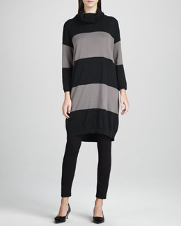 Joan Vass Long Bold-Striped Tunic, Petite