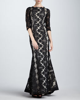 Alice + Olivia Jae Lace Open-Back Gown