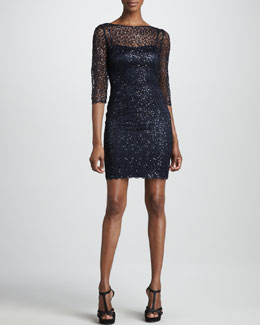 Kay Unger New York Metallic Lace Cocktail Dress