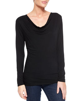 NM Luxury Essentials Draped Slub Top