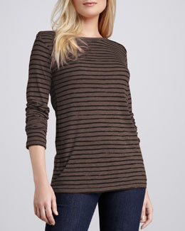 NM Luxury Essentials Striped Slub Top