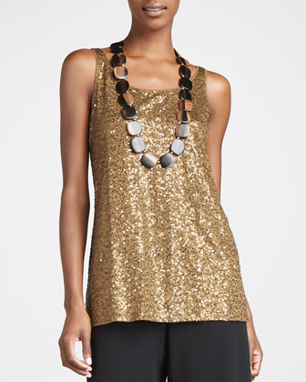 Mohair Sparkle Cardigan, Sleeveless Sequined Tunic & Silk-Georgette Pants