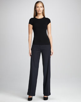 Neiman Marcus Cuffed Wide-Leg Pants