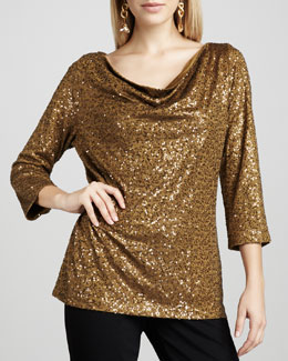 Eileen Fisher Sequined Silk Top