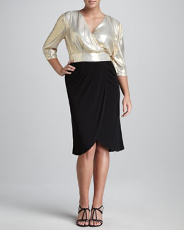 JilRo Kai Metallic-Wrap Dress, Women's