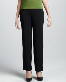 Caroline Rose Wool Loop-Button Cuff Pants