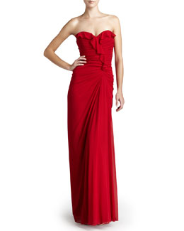Badgley Mischka Strapless Ruffled Gown