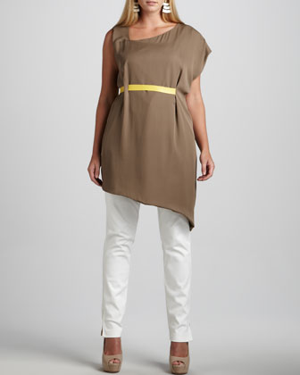 Sera Asymmetric-Banded Tunic & Twiggy Ankle-Zip Pants, Women's