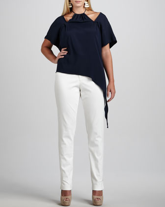 Des Asymmetric-Draped Top & Twiggy Ankle-Zip Pants, Women's