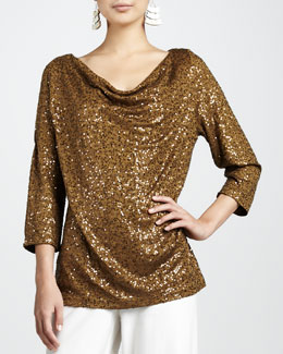 Eileen Fisher Sequined Drape-Neck Top